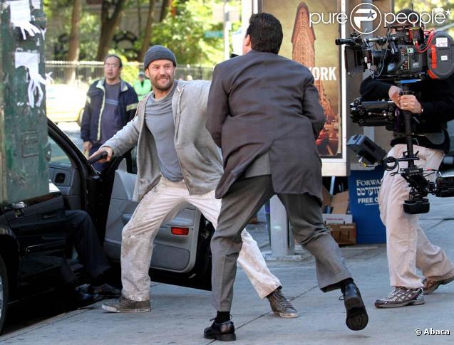Jason statham sur le tournage de safe dans le quartier de chinatown