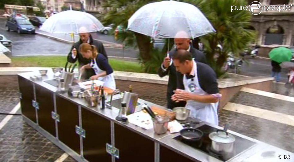 A rome les candidats doivent cuisinier sous la pluie dans for Cuisinier sur tf1