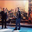 Johnny Hallyday et Eric Cantona, en 1998 pour le concert des Enfoirés.