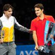 La finale du Masters 2010 qui a vu la victoire de Roger Federer sur Rafael Nadal sur le score de 6-3/3-6/6-1, à Londres, le 28 novembre 2010.