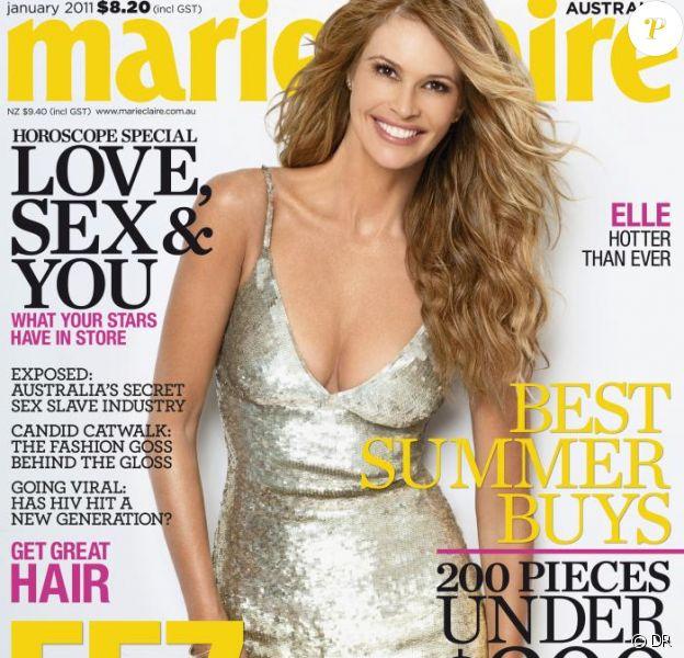 Elle Macpherson en couverture du magazine Marie Claire Australie.