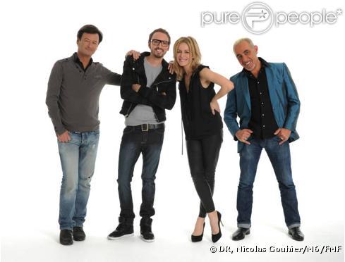 Olivier Schultheis, Christophe Willem, Véronic DiCaire et Henry Padovani, jurés de la seconde saison du X Factor français, attendent les candidats de pied ferme...