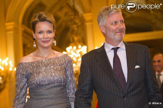 La famille royale belge (photo : le prince Philippe et la princesse Mathilde) était rassemblée au palais de Laeken pour le traditionnel concert de Noël, le 15 décembre 2010, à Bruxelles.