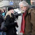 Michael Lonsdale, lors de son arrivée au Fouquet's, sur les Champs-Elysées, à Paris, pour le déjeuner des nominés des César 2011, le 5 février 2011.