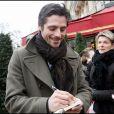 Raphaël Personnaz, lors de son arrivée au Fouquet's, sur les Champs-Elysées, à Paris, pour le déjeuner des nominés des César 2011, le 5 février 2011.