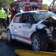 La voiture de Robert Kubica après son accident lors d'un rallye italien le 6 février 2011