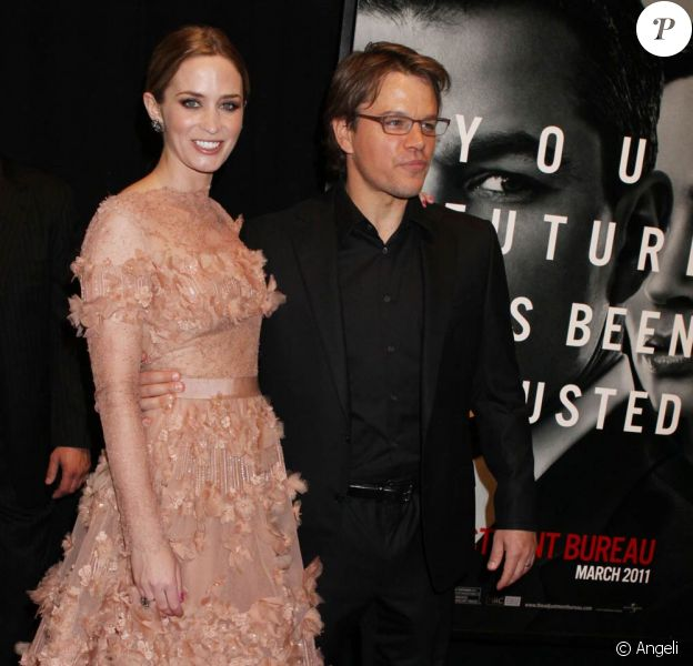 La superbe Emily Blunt et Matt Damon à l'occasion de l'avant-première de L'agence, qui s'est tenue au Ziegfeld Theatre de New York, le 14 février 2011.
