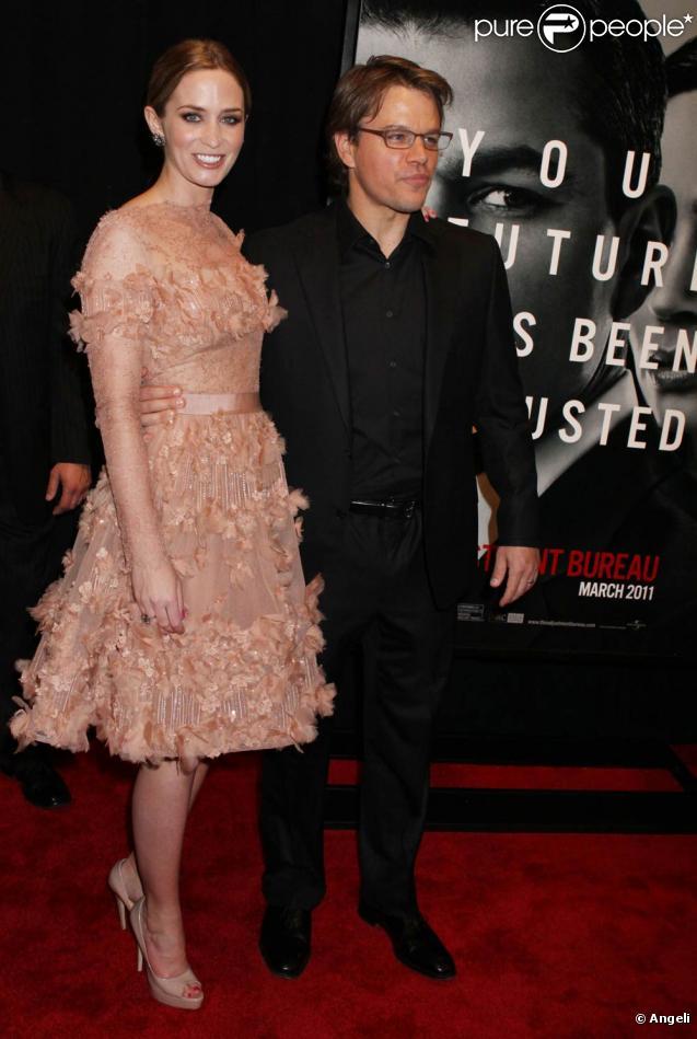 La superbe Emily Blunt et Matt Damon à l'occasion de l'avant-première de  L'agence , qui s'est tenue au Ziegfeld Theatre de New York, le 14 février 2011.