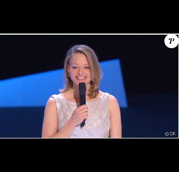Jodie Fostel, présidente du jury, lors de son discours durant la 36e nuit des César, vendredi 25 février.