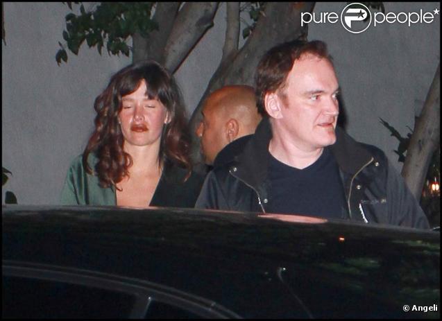 Quentin Tarantino et Paz de la Huerta à la sortie de l'after party des Oscars, le 27 février 2011 à Los Angeles