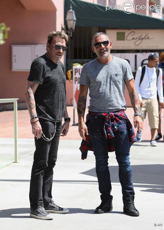 Johnny Hallyday et Christian Audigier à Los Angeles. 15 avril 2011