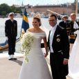 Radieuse, Victoria de Suède vient enfin de dire oui à l'amour de sa vie, le roturier Daniel Westling. Suède, 19 juin 2010