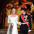 Mette Marit épouse le prince Haakon de Norvège le 25 août 2001. Oslo, 25 août 2000
