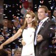 Arnold Schwarzenegger et Maria Shriver lors de la victoire d'Arnold à l'élection de Gouverneur de Californie, à Los Angeles, en novembre 2003.