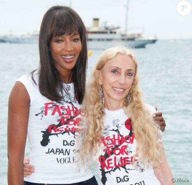 Naomi Campbell et Franca Sozzani à Cannes, le 15 mai, pour la promotion de leur collecte de fonds Fashion for relief en faveur du Japon.