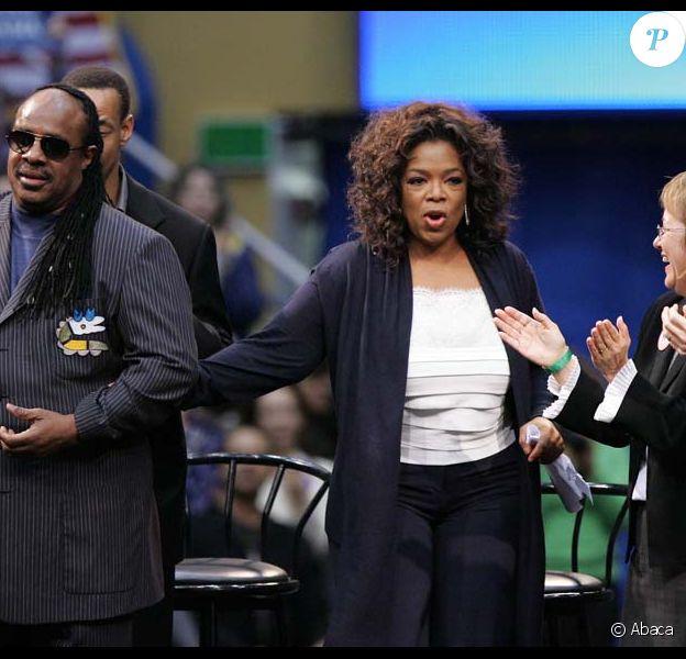 Oprah Winfrey et Stevie Wonder à Los Angeles, le 3 février 2008.