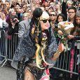 Lady Gaga, promotion de l'album  Born This Way  à la sortie de l'émission de David Letterman, à New York, le 23 mai 2011.