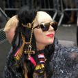 Lady Gaga, promotion de l'album  Born This Way  à la sortie de l'émission de David Letterman, à New York, le 23 mai 2011