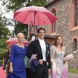 Le diadoque Pavlos de Grèce, entre sa femme la princesse Marie-Chantal et sa soeur la princesse Alexia, assistait, le 18  juin 2011, au mariage  religieux de la princesse Nathalie de  Sayn-Wittgenstein-Berleburg et  d'Alexander Johanssmann, en l'église  protestante de Bad Berleburg, en  Allemagne.