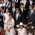 Stéphanie et Caroline de Monaco au premier plan, Charlotte, Andra et Pierre Casiraghi au second plan lors de la cérémonie religieuse  du mariage du prince Albert et de Charlene Wittstock, à Monaco, le 2  juillet 2011