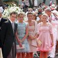 Stéphanie de Monaco, entourée de ses enfants, Louis et Pauline Ducruet et Camille Gottlieb lors de la cérémonie   religieuse  du mariage du prince Albert et de Charlene Wittstock, à   Monaco, le 2  juillet 2011