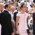 Charlotte Casiraghi et son fiancé, Alex Dellal, lors de la cérémonie  religieuse  du mariage du prince Albert et de Charlene Wittstock, à  Monaco, le 2  juillet 2011