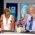 Audrey Crespo-Mara et Jean-François Rabilloud lors de la dernière émission de la Matinale sur LCI. Audrey Crespo-Mara pleure.