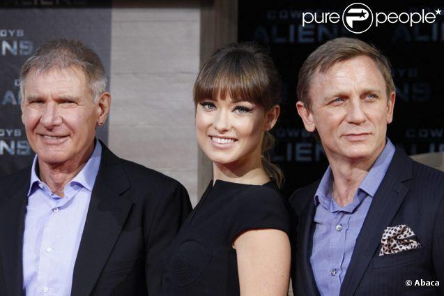 Harrison Ford, Olivia Wilde et Daniel Craig lors de l'avant-première du film Cowboys et Envahisseurs à Berlin en Allemagne le 8 août 2011