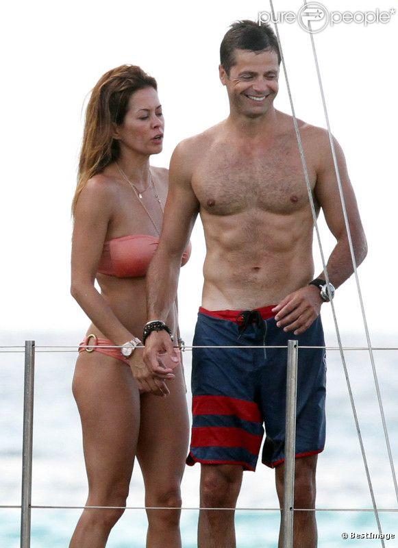 David Charvet et son épouse Brooke Burke profitent de leurs vacances à St-Barthélémy, mardi 9 août 2011.
