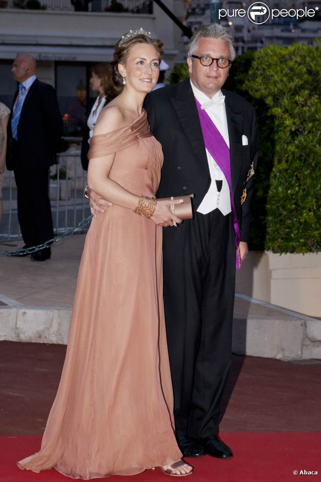 Le prince Laurent de Belgique et son épouse au mariage du prince Albert et de la princesse Charlene de Monaco, début juillet 2011.