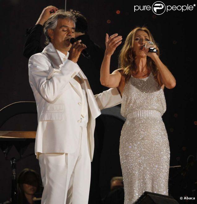 Andrea Bocelli et Céline Dion, en concert à Central Park, le 15 septembre 2011.