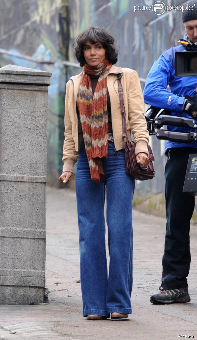 L'actrice Halle Berry en plein tournage du film  Cloud Atlas  le 15 septembre 2011 à Glasgow