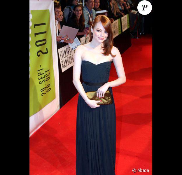 Emma Stone lors de l'avant-première du film La Couleur des Sentiments à Hambourg en Allemagne le 7 octobre 2011