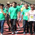 Michael C. Hall participe à la marche de charité en faveur du programme de recherche contre les lymphomes de l'université de Los Angeles, le 9 octobre 2011. L'acteur souffrait d'un cancer en 2010.