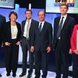 Michel Baylet, Martine Aubry, Manuel Valls, François Hollande, Arnaud Montebourg et Ségolène Royal, débat des primaires, le 5 octobre 2011.