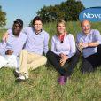 Lucien Jean-Baptiste, Nathalie Simon et Frank Leboeuf lors du trophée Novotel des personnalités au golf à Guyancourt le 15 octobre 2011
