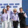 Edouard Tuffier, Martine Brun, Gérard Holtz et Marie Allwright, lors du trophée Novotel des personnalités au golf à Guyancourt le 15 octobre 2011