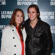 Anouchka Delon et Julien Dereins à la projection du film de George Clooney Les Marches du pouvoir, à Paris. 18 octobre 2011