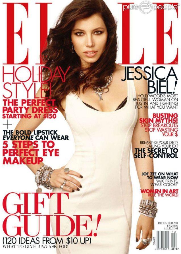 Jessica Biel en couverture du magazine ELLE USA du mois de décembre 2011
