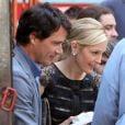 """Kelly Rutherford et son """"compagnon"""" à l'écran Matthew Seetle sur le tournage de Gossip Girl, le 1 août 2011 à New York"""
