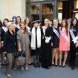 Geneviève de Fontenay présente ses 29 Miss à la presse avec ses remplaçantes, avant  l'élection de Miss Prestige National 2012, à l'hôtel Hilton  Arc-de-Triomphe à Paris, le samedi 26 novembre 2011.