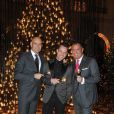 Marc-Olivier Raffray, Jeff Leatham et Henri J. Sillam lors du lancement de la collection de bijoux   Zawoom, à l'Hôtel Georges V, à Paris. Novembre 2011