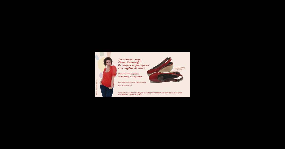 anne roumanoff vend aux ench res sa paire de chaussures rouges l 39 argent r colt lors de cette. Black Bedroom Furniture Sets. Home Design Ideas
