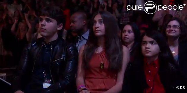 Prince, Paris, Blanket et Katherine Jackson lors de l'émission X-Factor spéciale Michael Jackson le 30 novembre 2011