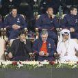 Leonardo, Carlo Ancelotti et Nasser Al-Khelaïfi à Doha le 3 janvier 2012