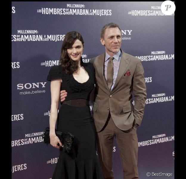 Daniel Craig et Rachel Weisz présentent Millénium : Les hommes qui n'aimaient pas les femmes, à Madrid le 4 janvier 2012.