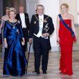 Constantin et Anne-Marie de Grèce avec leur fille la princesse Theodora, dimanche 15 janvier 2012 à Copenhague.   La reine Margrethe II de Danemark était honorée dimanche 15 janvier 2012 par un dîner au palais Frederik VIII à Amalienborg, en point d'orgue des célébrations de son jubilé de rubis, marquant 40 ans de règne.