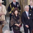 Le couple royal suédois à la sortie de la chapelle... Dans le cadre du jubilé de rubis de la reine Margrethe II de Danemark, un office religieux a été célébré dimanche 15 janvier 2012 en la chapelle de Christiansborg, en présence de la famille royale et des invités étrangers.