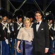 Le diadoque Pavlos de Grèce et son épouse la princesse Marie-Chantal. Dîner de gala à la salle de concert de Copenhague dans le cadre du jubilé des 40 ans de règne de la reine Margrethe II, samedi 14 janvier 2012. 1500 convives de marque étaient invités.