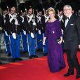 Constantin et Anne-Marie de Grèce. Dîner de gala à la salle de concert de Copenhague dans le cadre du jubilé des 40 ans de règne de la reine Margrethe II, samedi 14 janvier 2012. 1500 convives de marque étaient invités.